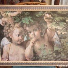 Arte: CUADRO DE ANGELOTES CON BONITO MARCO. Lote 224378053