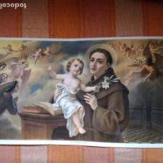 Arte: LÁMINA ANTIGUA SAN ANTONIO DE PADUA, AÑOS 50 APROX. 61 X 32 CM.. Lote 224853793
