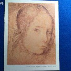 Arte: LAMINA PEQUEÑO FORMATO. CARA DE UNA MUJER. MADRID. BIBLIOTECA. VELAZQUEZ. 20 CM X 27 CM. Lote 224885061