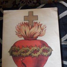 Arte: ANTIGUA LÁMINA RECORTABLE, SAGRADO CORAZÓN DE JESÚS. Lote 225275900