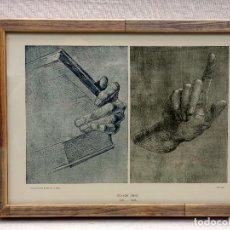 Arte: MANO CON LIBRO Y ESTUDIO DE DURERO, MEISTER ALBERTINA, PLANCHA Nº 353, MONTAJE CUADRO. Lote 225753230