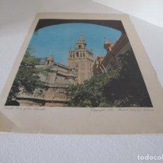 Arte: LAMINA ANTIGUA VINTAGE LA GIRALDA DE SEVILLA 1959/ VIEW OF THE GIRALDA, SEVILLE SILEX MADRID EDICIÓN. Lote 226508210