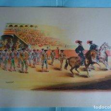 Arte: ANTIGUA LAMINA DE TAUROMAQUIA PERFECTA PARA ENMARCAR. AÑOS 50. FIRMADA POR CONCEJO. Nº 2. Lote 226647420