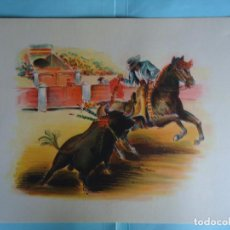 Arte: ANTIGUA LAMINA DE TAUROMAQUIA PERFECTA PARA ENMARCAR. AÑOS 50. FIRMADA POR CONCEJO. Nº 9. Lote 226649015