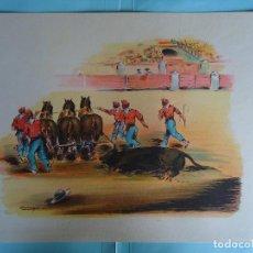 Arte: ANTIGUA LAMINA DE TAUROMAQUIA PERFECTA PARA ENMARCAR. AÑOS 50. FIRMADA POR CONCEJO. Nº 16. Lote 226650215