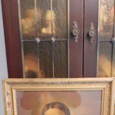 Arte: CUADRO CON LÁMINA ANTIGUA DEL SAGRADO CORAZÓN DE JESÚS, 58 X 47. Lote 227186050