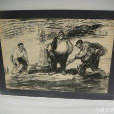 Arte: PARTIDA DE BOLOS - LITOGRAFIA DE UNA OBRA DE E. LAGARDE. Lote 227270480
