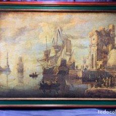 Arte: LAMINA TABLA ESCENA PUERTO BARCO VELEROS S XVII RUINAS DECORACION ITALIA MARCO 74X105CMS. Lote 236701260
