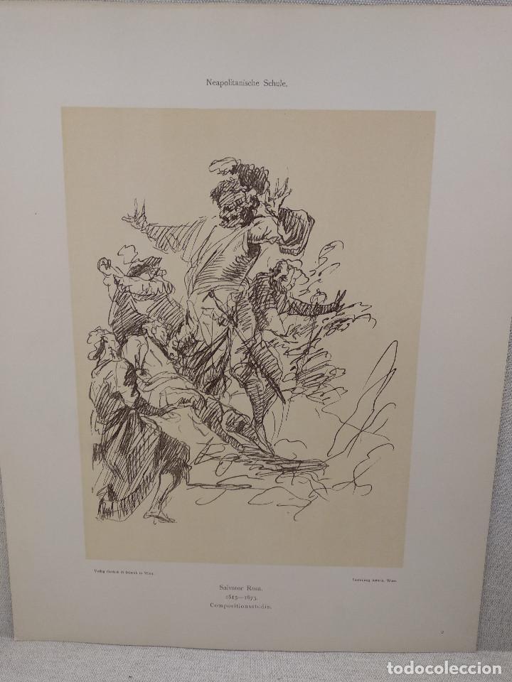 ESTUDIO DE SALVATOR ROSA, MEISTER ALBERTINA, PLANCHA Nº 9 (Arte - Láminas Antiguas)