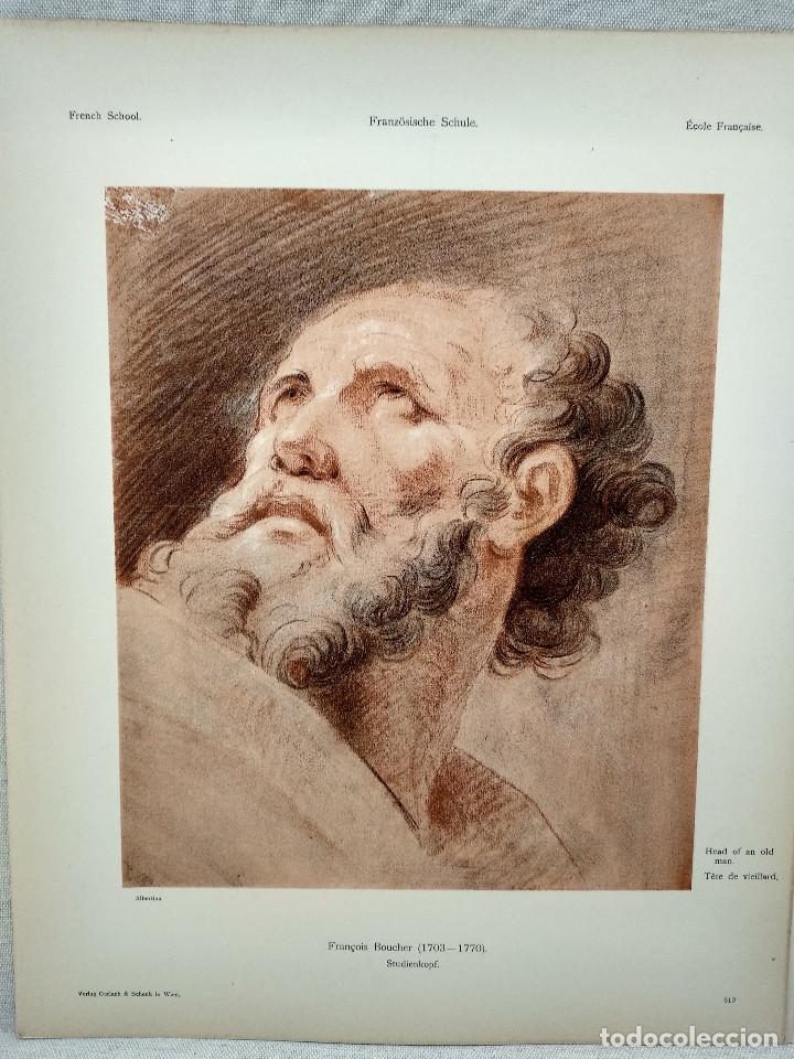 ESTUDIO DE CABEZA DE FRANCOIS BOUCHER, MEISTER ALBERTINA, PLANCHA Nº 519 (Arte - Láminas Antiguas)