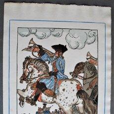 Arte: GUY ARNOUX - LES TROMPETTES DU ROY. JINETE A CABALLO TOCANDO LAS SALVAS DEL REY.. Lote 238626220
