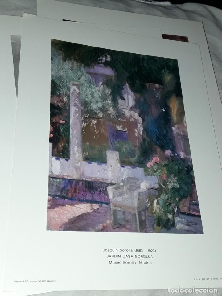 Arte: 3 Lamina de Joaquín Sorolla, Rosas, El Viejo del Pitillo, Jardin Casa Sorolla año 1979 Juan Chamorro - Foto 4 - 239430585