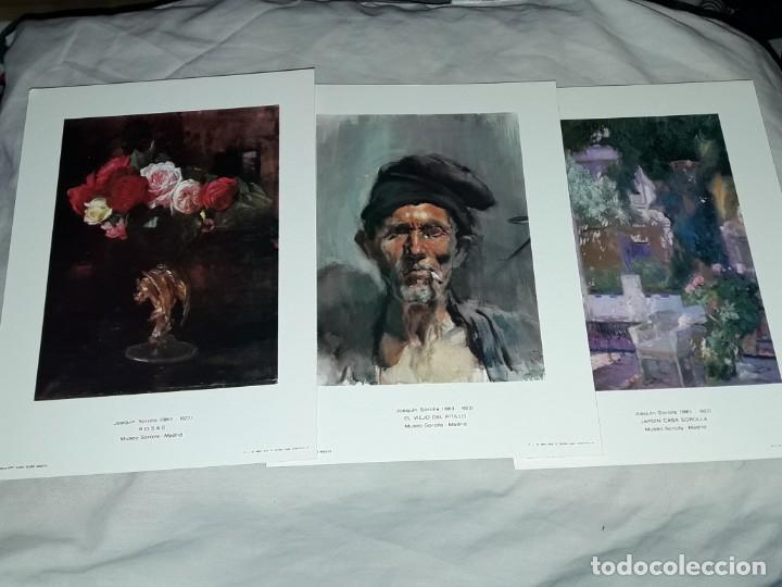 3 LAMINA DE JOAQUÍN SOROLLA, ROSAS, EL VIEJO DEL PITILLO, JARDIN CASA SOROLLA AÑO 1979 JUAN CHAMORRO (Arte - Láminas Antiguas)