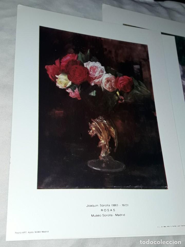Arte: 3 Lamina de Joaquín Sorolla, Rosas, El Viejo del Pitillo, Jardin Casa Sorolla año 1979 Juan Chamorro - Foto 2 - 239430585