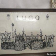 Arte: LAMINA CON OS PRINCIPALES MONUMENTOS DE LUGO, MURALLA, CATEDRAL, DIPUTACION, PLAZA ESPAÑA C- ARTES.. Lote 239699175