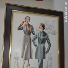 Arte: AÑO 40/50 GRAN LAMINA 36,3 X 27,5 CM ORIGINAL MODA ELEGANTE FEMENINA MUJER FIGURINES ATELIER SOGRA. Lote 241290405