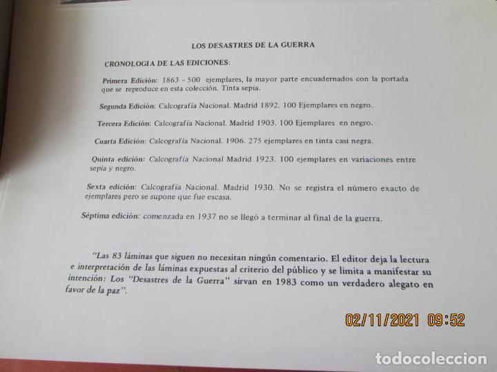 Arte: LOS DESASTRES DE LA GUERRA - FRANCISCO GOYA Y LUCIENTE - 83 LÁMINAS - 1983 - PORTADA 1ª ed. 1863. - Foto 5 - 241301295