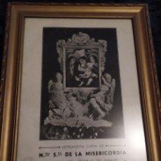 Arte: UNICA GRAN LÁMINA IMAGEN NUESTRA SEÑORA MISERICORDIA MANUEL VALENCIA JUNTA P.O. VII CENTENARIO 1947. Lote 242014305
