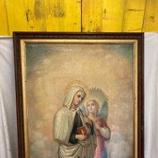 Arte: PRECIOSO CUADRO RELIGIOSO!PINTURA Y LAMINA!. Lote 243075945