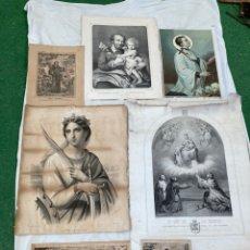 Arte: LOTE DE LAMINAS,GRABADOS RELIGIOSOS ANTIGUOS!. Lote 243459050