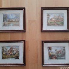 Arte: LOTE 4 CUADROS DE LAMINAS PAISAJISTAS ENMARCADAS Y ACRISTALADAS. VER DESCRIPCIÓN. Lote 243559495