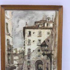 Arte: LAMINA ENMARCADA DEL ARCO DE CUCHILLERROS, PUERTA DE ENTRADA A PLAZA MAYOR - MADRID - 1954. Lote 244666200