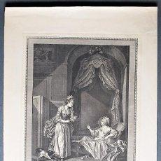 Arte: LA BAIN. DE LA LETTRE OU DU CHOCOLAT.... S. FREUDEBERG DIBUJÓ, A. ROMANET, GRABÓ, EN 1774.. Lote 62497816