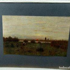 Arte: PUESTA DE SOL DE EUGEN JETTEL, PLANCHA Nº 143 DE MEISTER DER FARBE 1905,. Lote 245383125