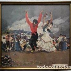 Arte: LAMINA ENMARCADA CON CRISTAL ESPAÑA: DANZAS PURAS EN EL SACRO MONTE RIERA ROJAS - CUADRO-342. Lote 245471635