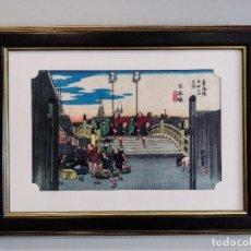 Arte: IMPRESIÓN JAPONESA SOBRE TELA UKIYO-E. Lote 245600735