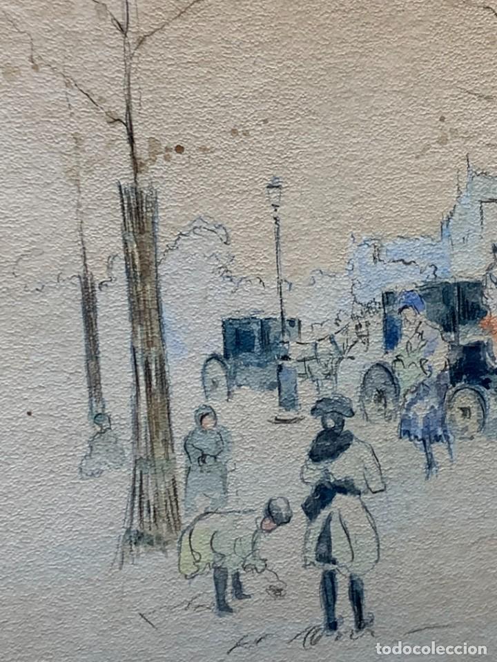 Arte: LAMINA VISTA CIUDAD CALLE KIOSCO CALESA PPIO S XX 53X44CMS - Foto 5 - 246770650