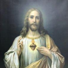 Arte: ANTIGUA LAMINA SAGRADO CORAZÓN DE JESÚS HANS ZATZKA FIRMADO ZABARERI.52X40CM. Lote 251513520