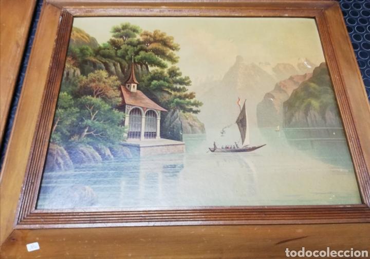 Arte: Pareja de marcos de madera con antiguas láminas de cartón . - Foto 2 - 254914750