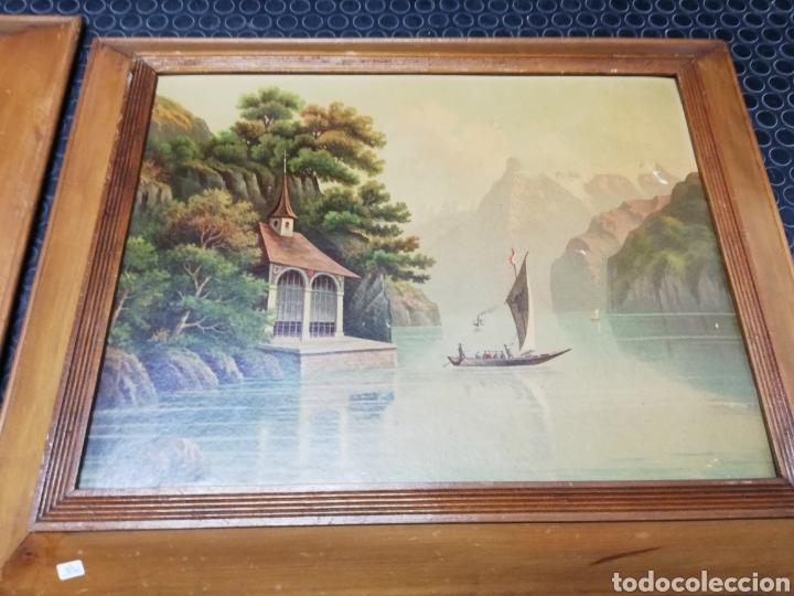 Arte: Pareja de marcos de madera con antiguas láminas de cartón . - Foto 3 - 254914750