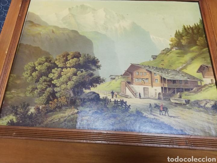 Arte: Pareja de marcos de madera con antiguas láminas de cartón . - Foto 4 - 254914750