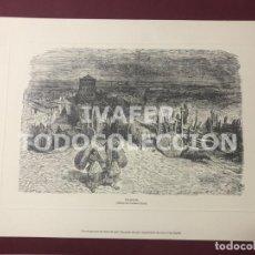 Arte: LAMINA SAHAGUN, LEON, DIBUJO DE GUSTAVO DORE, EDITADO POR EL DIARIO DE LEON, 21 CM X 30 CM. Lote 255024175