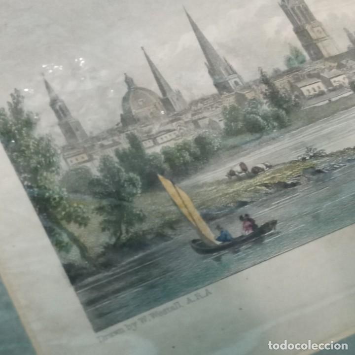 Arte: pequeño grabado, paisaje Oxford del artista W. Westal - Foto 3 - 257881580