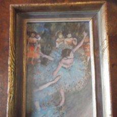 """Arte: ANTIGUA LAMINA """" BAILARINAS """" LACADA SIMULANDO ÓLEO DE 37 X 31 CM. Lote 259712265"""