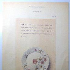 Arte: LAMINA Nº 54 , SERIE PORCELANA FRANCESA, PLATO HONDO CON FLORES, LOZA POPULAR, EDICIÓN ESPECIAL. Lote 262068755