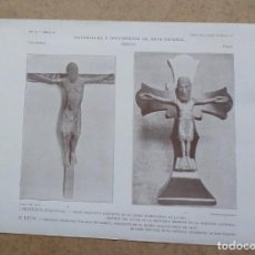 Arte: LAMINA MANRESA – BARCELONA – CRISTO ROMÁNICO TRINIDAD DE LA PRIMITIVA CATE - LEON – CRUCIFIJO DETAL. Lote 263090950