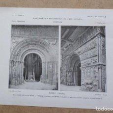 Arte: RIPOLL – GERONA – MONASTERIO DE SANTA MARÍA PORTADA ROMÁNICA – DURANTE LA RESTAURACIÓN Y DESPUÉS RES. Lote 263091200