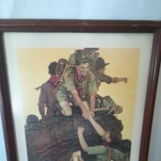 Arte: NORMAN ROCKWELL 1945 BOY SCOUT LAMINAS ENMARCADAS VINTAGE. Lote 265415424