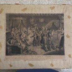 Arte: GRABADO S XVIII LA RANCUNE COUPE CHAPEAU RAGOTTIN LOUIS DE SURUGUE SEGUN OBRA DE SCARRON 41X48CMS. Lote 265751044