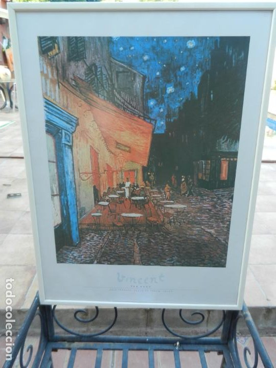 Arte: LÁMINA VICENT VAN GOHG - CAFE TERRACE, PLACE DU FORUM, ARLES - MARCO BLANCO MADERA - MIDE 83X62 CM - Foto 2 - 266842944