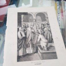 Art: ANTIGUA LAMINA GRABADO RELIGIOSO SANTORAL SAN SILVESTRE PAPA 31 DICIEMBRE. Lote 266894859