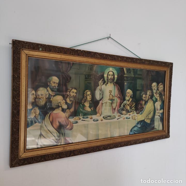 ANTIGUA LÁMINA RELIGIOSA. ÚLTIMA CENA. JESÚS Y DOCE APÓSTOLES. MARCO Y CRISTAL. 87 X 45 CM. (Arte - Láminas Antiguas)