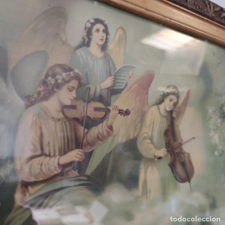 Arte: Antigua lámina religiosa. Virgen María con el niño Jesús. Marco y cristal. 87 x 45 cm. - Foto 3 - 267005209