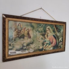 Arte: ANTIGUA LÁMINA RELIGIOSA. VIRGEN MARÍA CON EL NIÑO JESÚS. MARCO Y CRISTAL. 87 X 45 CM.. Lote 267005209