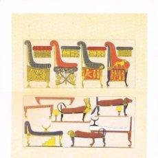 Arte: LAMINA REPRODUCCIÓN ANTIGUO GRABADO. EGIPTO DE LOS FARAONES, MUEBLES, MEDIDAS 34,5 X 25 CMS.. Lote 267013389