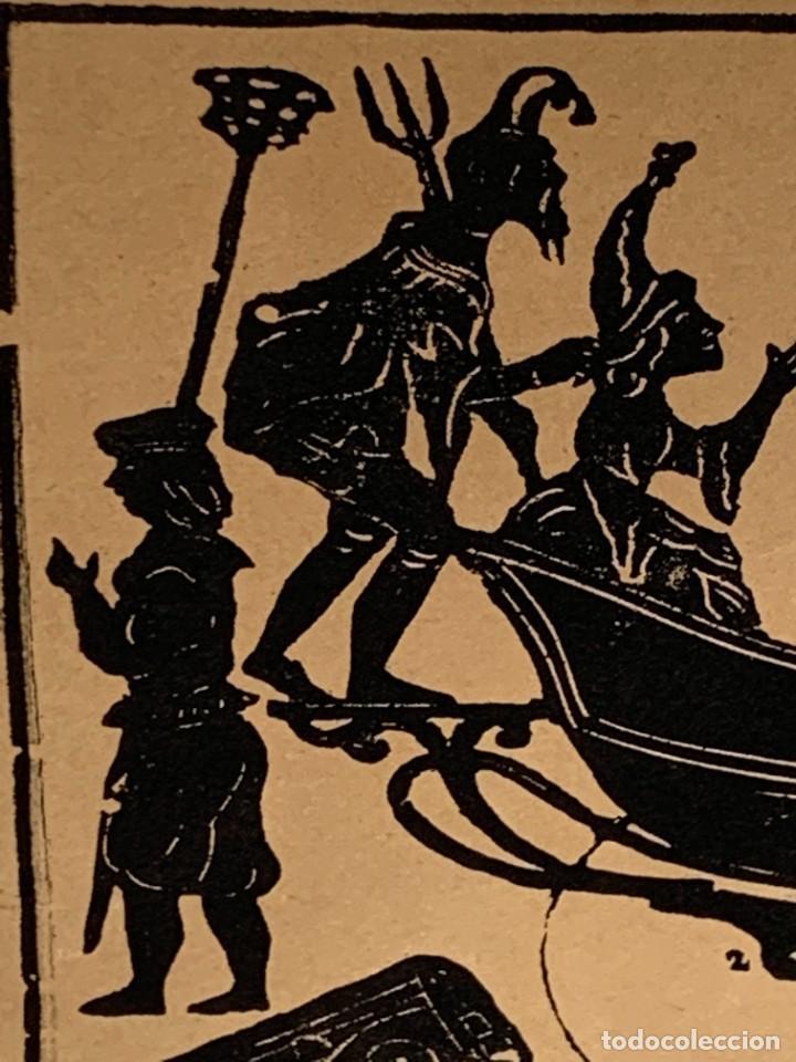 Arte: HOJA IMPRESA MOJIGANGA SILUETA IMPRESO PAPEL SIGLO XIX CARROZA CABALLOS DESFILE FIESTA 35X49CMS - Foto 2 - 267240399